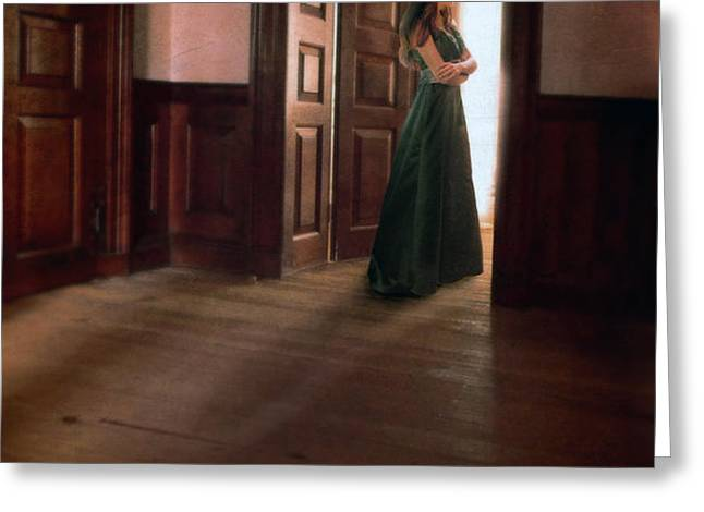 Lady in Green Gown in Doorway Greeting Card by Jill Battaglia