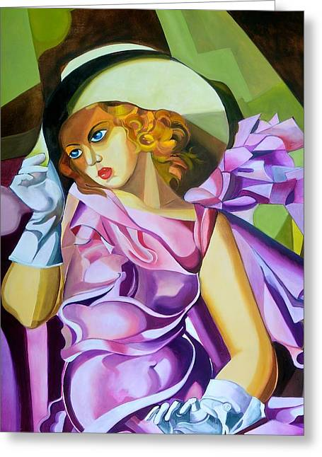 Featured Art Pastels Greeting Cards - Lady in Lilac Greeting Card by Susan Robinson