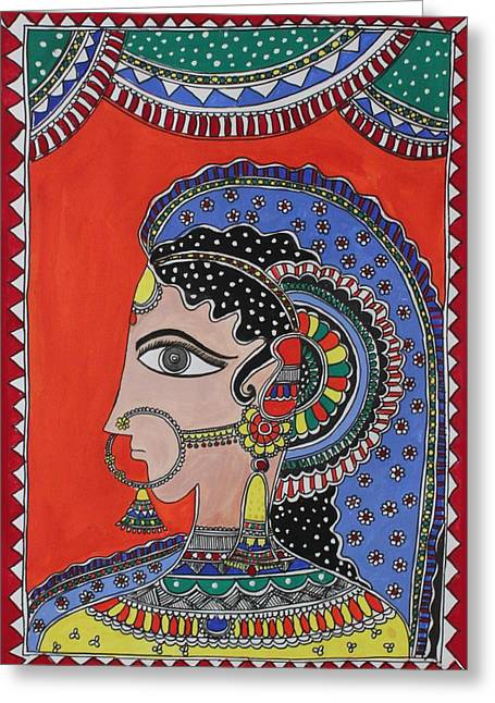 Glittery Jewelry Greeting Cards - Lady in ornaments Greeting Card by Shakhenabat Kasana