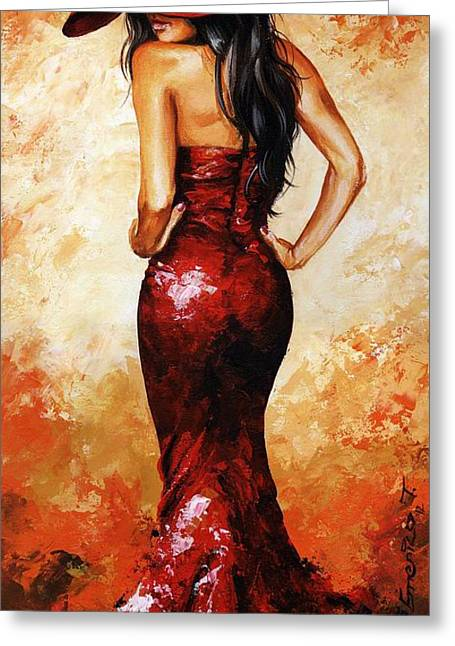 People Paintings Greeting Cards - Lady in Red 035 Greeting Card by Emerico Imre Toth