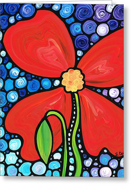 Red Abstracts Greeting Cards - Lady in Red 2 - Buy Poppy Prints Online Greeting Card by Sharon Cummings