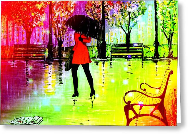 Lady With Red Umbrella Greeting Cards - Lady in Red 2 Greeting Card by Kenneth A Mc Williams