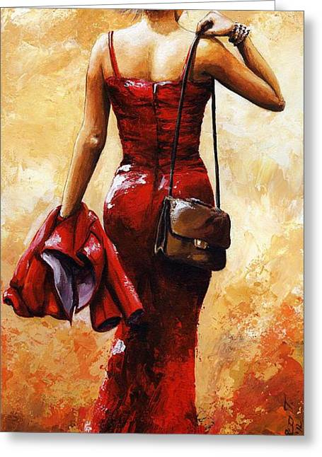 Impressionist Greeting Cards - Lady in Red #25 Greeting Card by Emerico Imre Toth