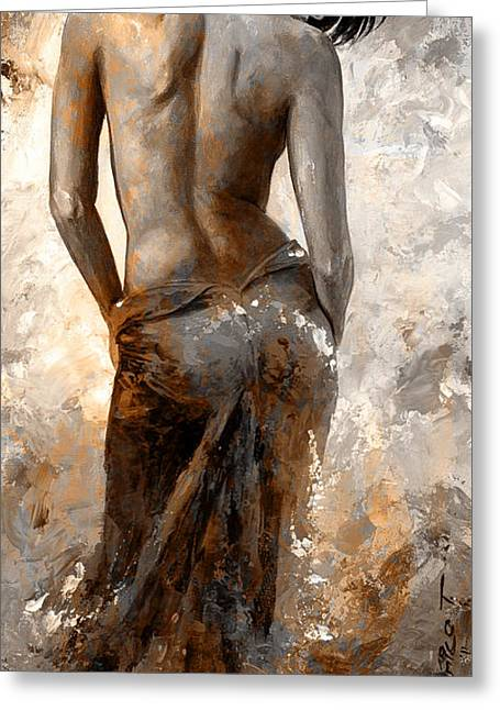 Nude Art Digital Art Greeting Cards - Lady in Red #27 digital colored Rust Greeting Card by Emerico Imre Toth