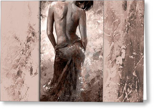 Lifestyle Greeting Cards - Lady in red 27 style MistyRose Greeting Card by Emerico Imre Toth