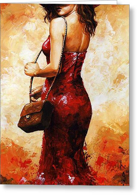 Young Lady Greeting Cards - Lady in red  30 Greeting Card by Emerico Imre Toth