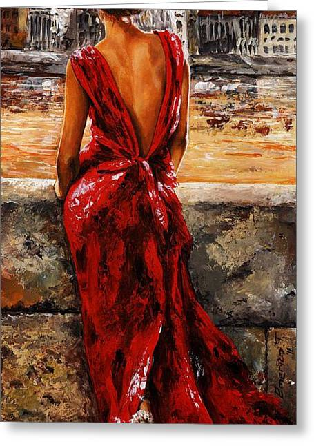 Female Paintings Greeting Cards - Lady in red  34 -  I love Budapest Greeting Card by Emerico Imre Toth