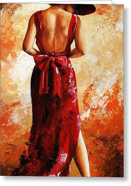 Young Lady Greeting Cards - Lady in red  39 Greeting Card by Emerico Imre Toth