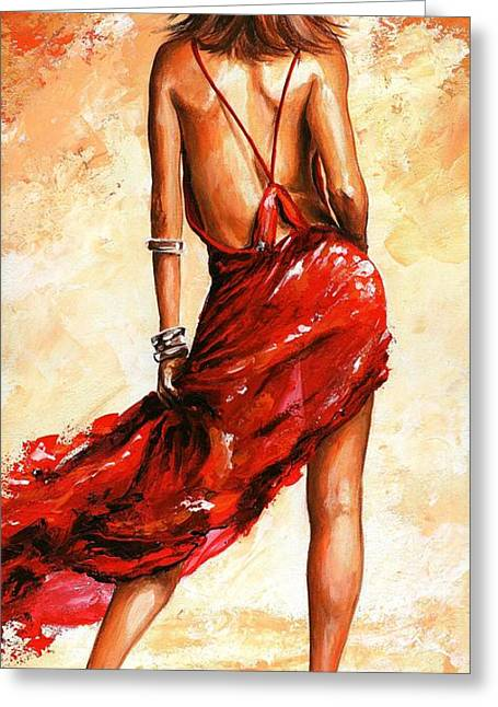 Lifestyle Greeting Cards - Lady in red 40 Greeting Card by Emerico Imre Toth