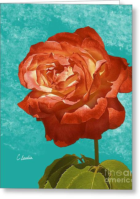 Customizable Greeting Cards - Lady In Red Greeting Card by Claudia  Ellis