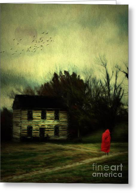 Farm Structure Greeting Cards - Lady in Red Greeting Card by Darren Fisher