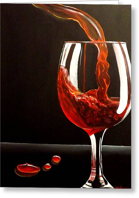 Glass Of Wine Paintings Greeting Cards - Lady In Red Greeting Card by Darren Robinson