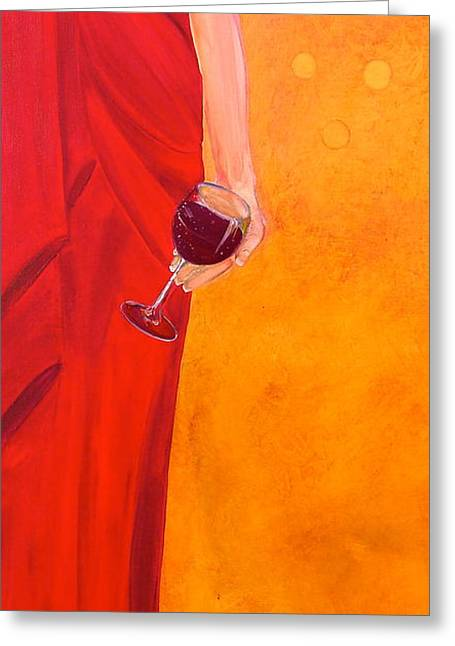 Red Wine Prints Mixed Media Greeting Cards - Lady in Red Greeting Card by Debi Starr
