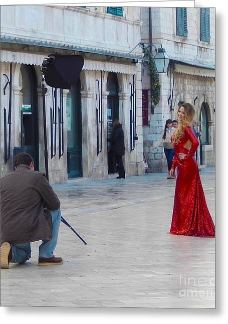 Lady In Red Dubrovnik Greeting Card by Ann Johndro-Collins