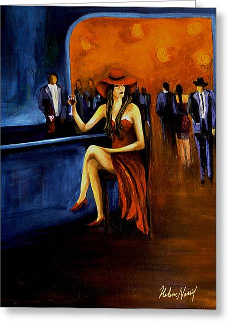Acylic Greeting Cards - Lady In Red Greeting Card by Helene Khoury Nassif