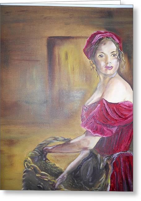 Lady In Red Greeting Card by Joyce Reid