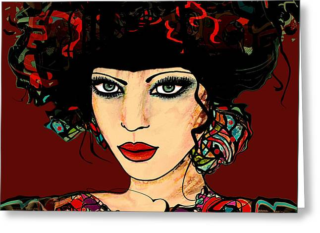 Embroidered Dress Greeting Cards - Lady in Red Greeting Card by Natalie Holland