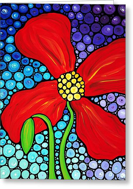 Mosaic Paintings Greeting Cards - Lady In Red - Poppy Flower Art by Sharon Cummings Greeting Card by Sharon Cummings
