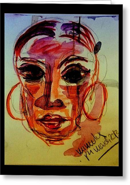 Crying Drawings Greeting Cards - Lady In Red - Silent Tears Greeting Card by Mimulux patricia no