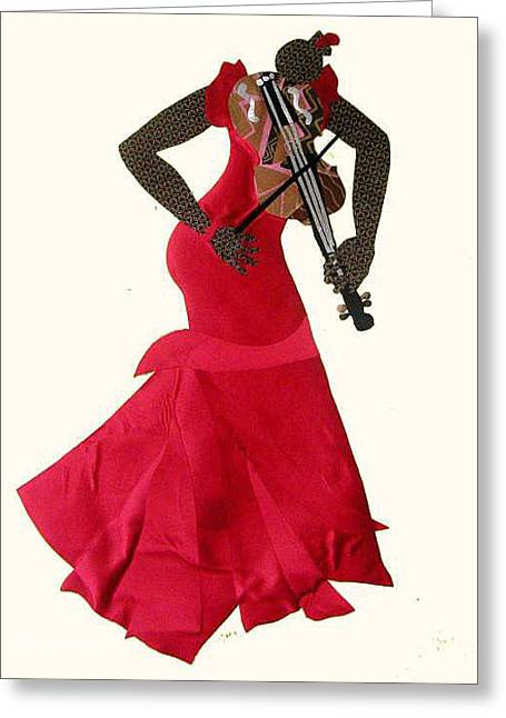 Playing Tapestries - Textiles Greeting Cards - Lady in Red Violinist Greeting Card by Ruth Yvonne Ash