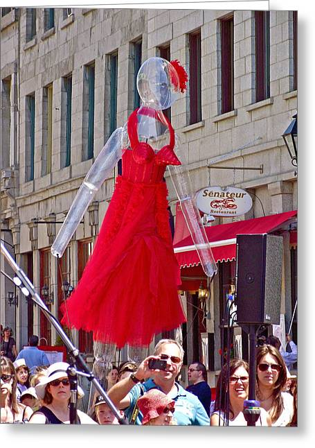 Qc Greeting Cards - Lady in Red Watching Filming of TODAY Show in Old Montreal-QC Greeting Card by Ruth Hager