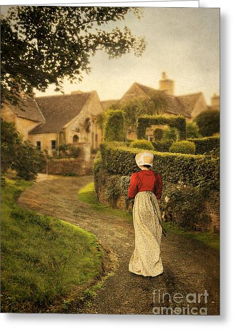Charming Town Greeting Cards - Lady in Regency Dress Walking Greeting Card by Jill Battaglia