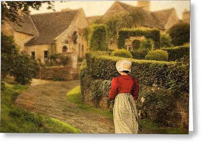 Lady in Regency Dress Walking Greeting Card by Jill Battaglia