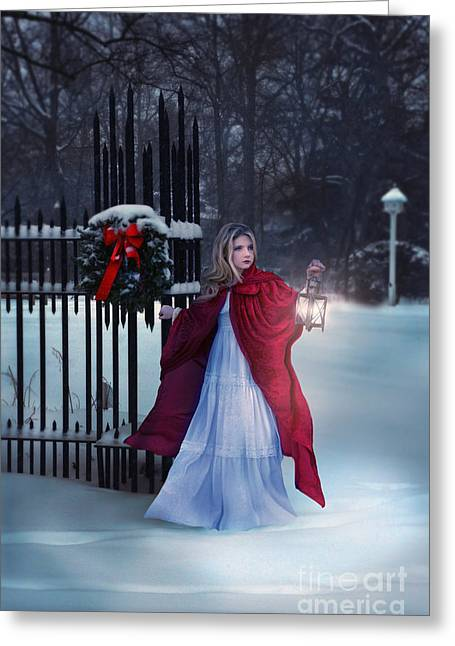 Snowy Night Night Greeting Cards - Lady in Snow with Lantern Greeting Card by Jill Battaglia