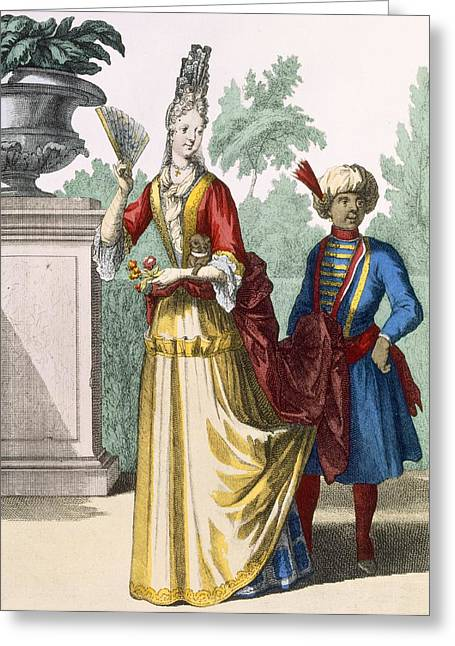 Lady In Summer Dress, C.1690-1700 Greeting Card by French School