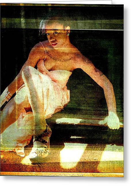 Tattoed Greeting Cards - Lady In Textured Shadow Greeting Card by Alice Gipson