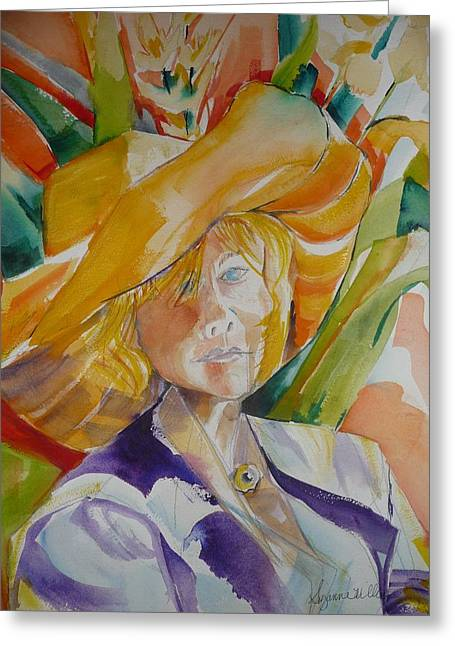 Lady In The Big Yellow Hat Greeting Card by Suzanne Willis