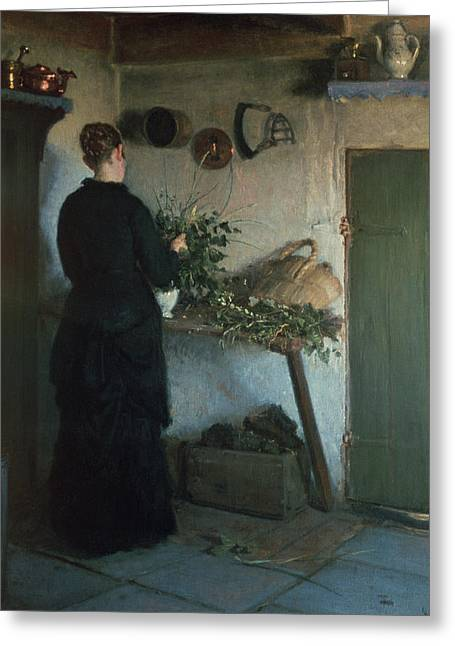 Basket Pot Greeting Cards - Lady In The Kitchen Greeting Card by Viggo Johansen