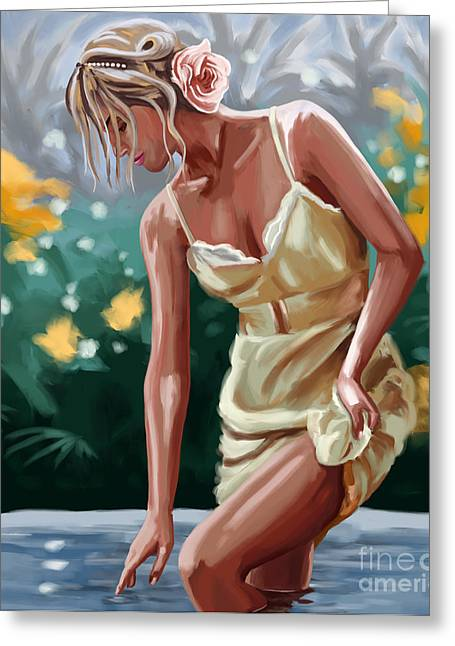 Updo Greeting Cards - Lady in the lake Greeting Card by Tim Gilliland