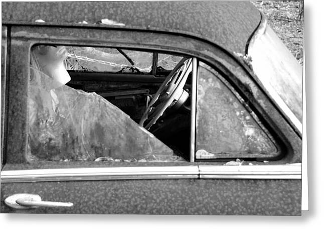 Rusted Cars Greeting Cards - Lady in the old Dodge Greeting Card by David Lee Thompson