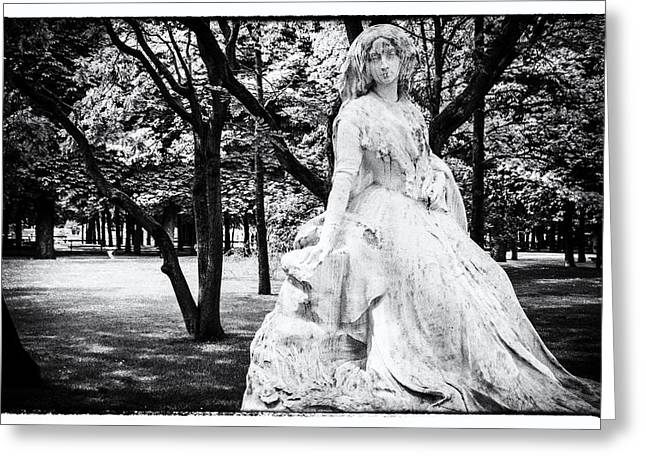 Lady In The Park Greeting Card by Georgia Fowler