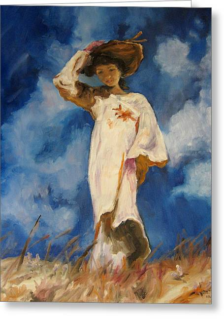 Diane Kraudelt Greeting Cards - Lady In The Wind Greeting Card by Diane Kraudelt