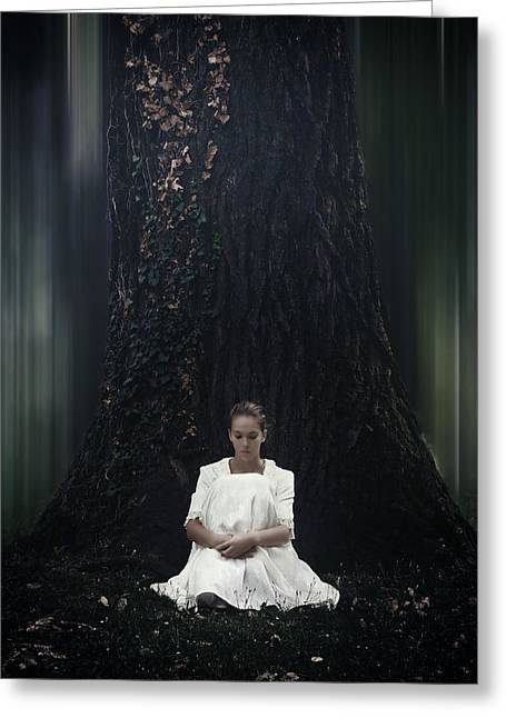 Pensive Photographs Greeting Cards - Lady In The Woods Greeting Card by Joana Kruse