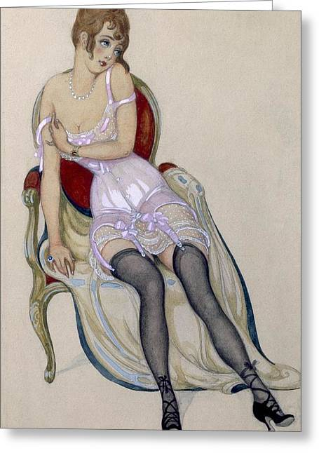 Suspenders Greeting Cards - Lady In Underwear, 1917 Greeting Card by Gerda Marie Frederike Wegener