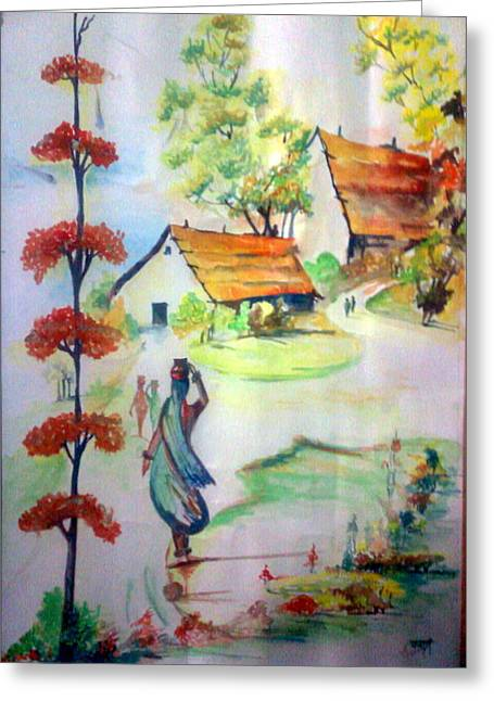 Bamboo House Drawings Greeting Cards - Lady in village carrying water - Close to nature Greeting Card by Tanaya Chaudhuri