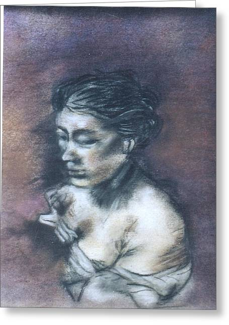 Les Pastels Greeting Cards - Lady In Wait Greeting Card by Thomas Armstrong