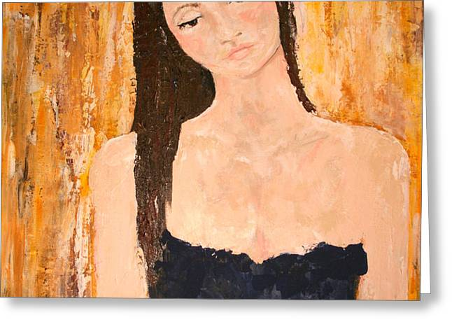 Lady In Waiting Greeting Card by Kathy Peltomaa Lewis