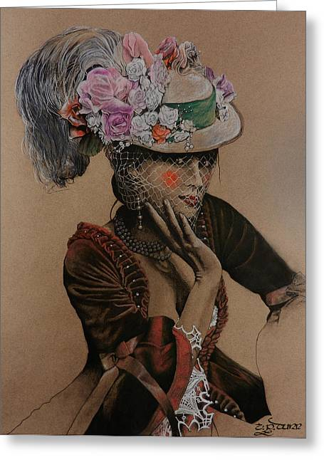 Ink And Pencil Girl Drawings Greeting Cards - Lady In Waiting Greeting Card by TP Dunn