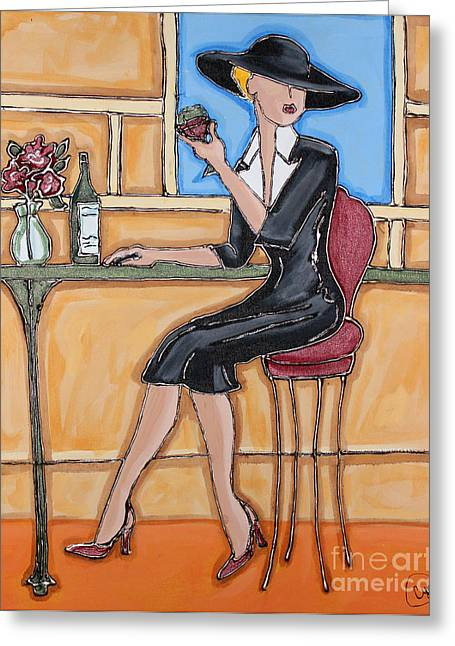 Table Wine Mixed Media Greeting Cards - Lady in Waiting with Wine Greeting Card by Cynthia Snyder