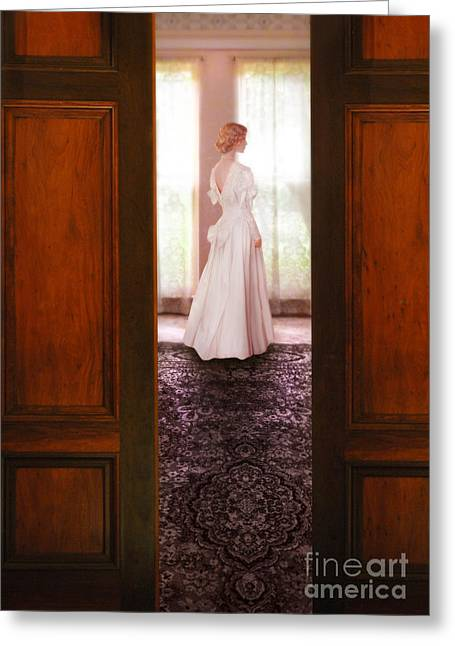 Bridal Gown Greeting Cards - Lady in White Gown Seen Through Doors Greeting Card by Jill Battaglia