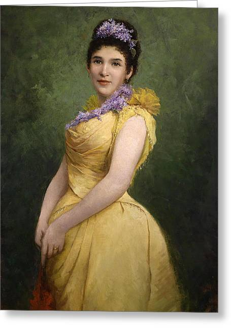 Adolf Greeting Cards - Lady in yellow dress and lilac in her hair Greeting Card by Adolf Echtler