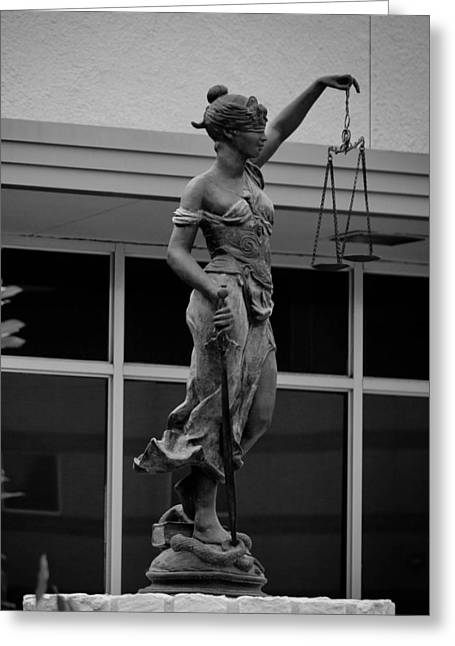 Lady Justice Greeting Card by Amber Kresge