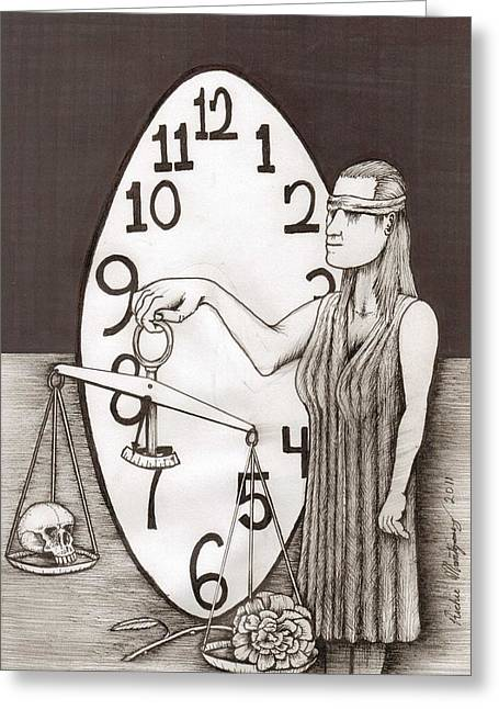 Richie Montgomery Greeting Cards - Lady Justice and the Handless Clock Greeting Card by Richie Montgomery