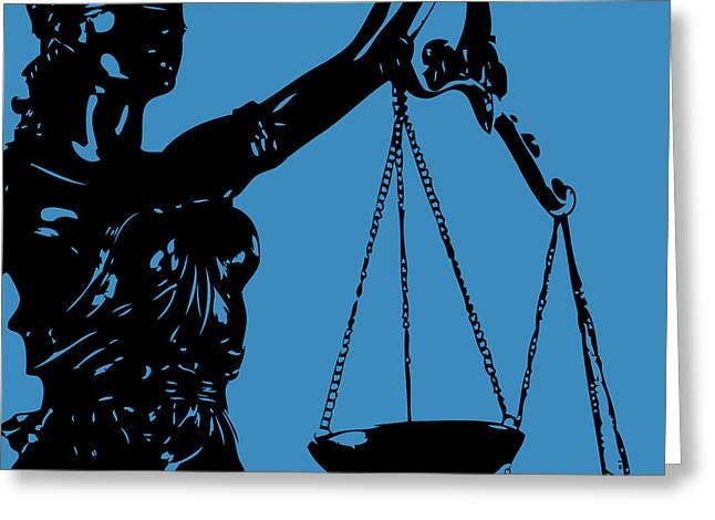 Lady Justice Blue Greeting Card by Flo Karp