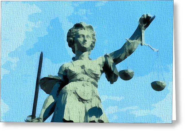 Lady Justice Pop Art Greeting Card by Dan Sproul