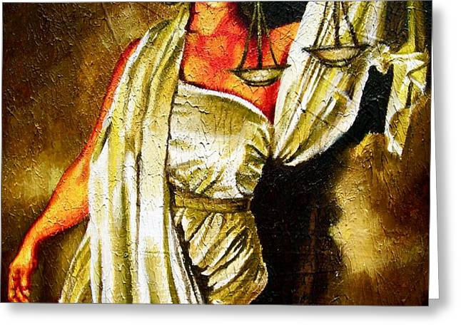 Lady Justice Sepia Greeting Card by Laura Pierre-Louis